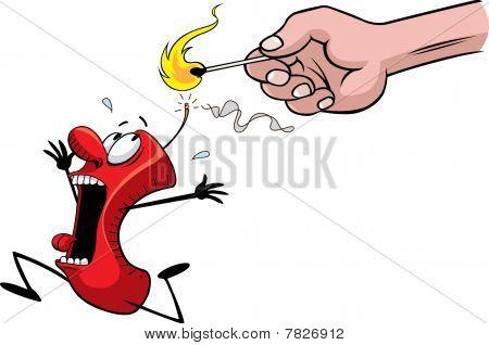 Scared fire cracker