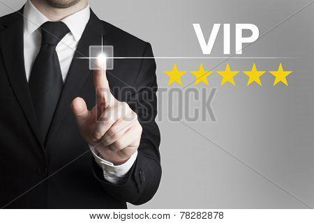 Businessman Pushing Button Vip Stars