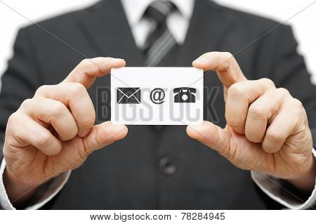 Businessman Hold Business Card With Email,mail, Phone Icon. Contact Us