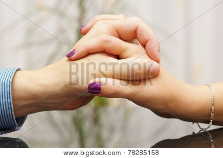 Man And Woman Showing Love And Care To Each Other With Hands