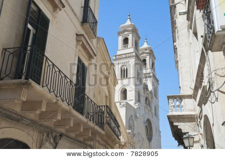 Perspective of view Cathedral in Altamura Oldtown. Apulia. poster