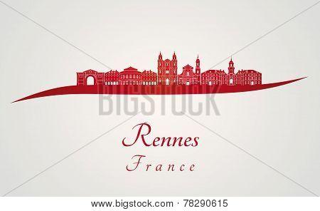 Rennes Skyline In Red