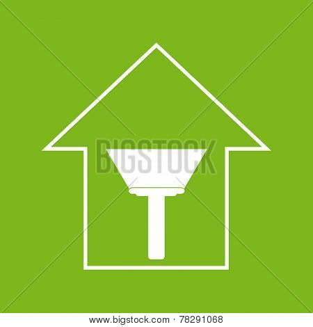 House With Paint Scraper. White On Green