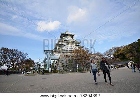 Tourists Visit Osaka Castle In Osaka City, Japan
