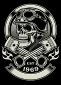 fully editable vector illustration of vintage biker skull with crossed piston emblem isolated on black background, image suitable for insignia, emblem, crest, patch, badge,  tattoo, or t-shirt graphic poster