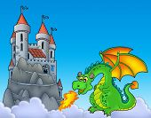 Green dragon with castle on hill - color illustration. poster