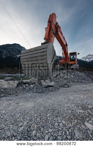 perspective of huge shovel with excavator