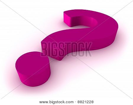 Pink 3D question mark on white