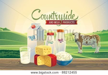 Rural landscape with a cow, and set of milk products.
