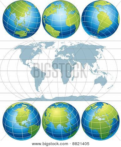 Globes with World Map