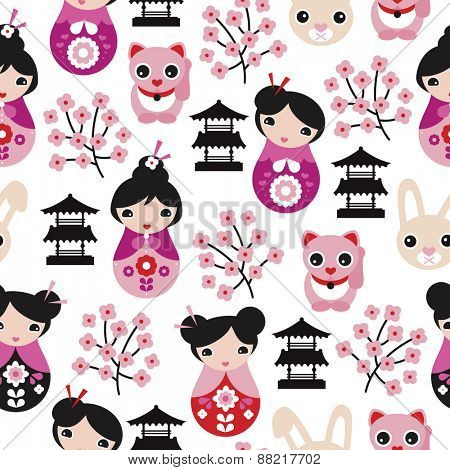 Seamless adorable japanese geisha girls temple cats and cherry blossom illustration background pattern in vector
