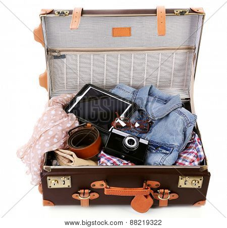 Packing suitcase for trip isolated on white poster