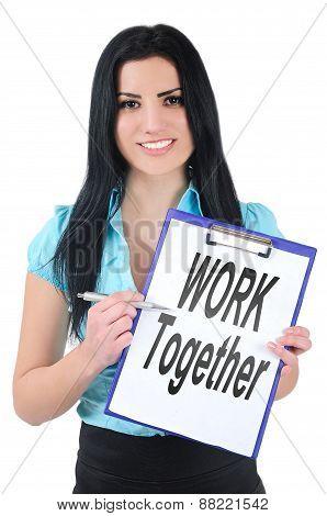 Woman Showing Clipboard