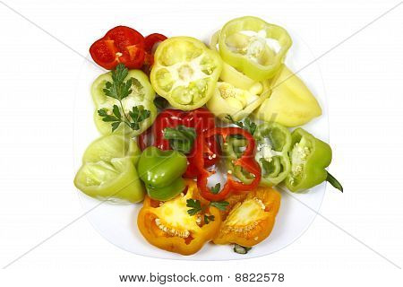 Sweet Pepper Chopped Multicolored On A Plate