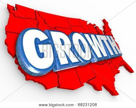 Growth word on a red 3d map of the United States of America to illustrate increase in population, economy, productivity, output, education, income or other measurement