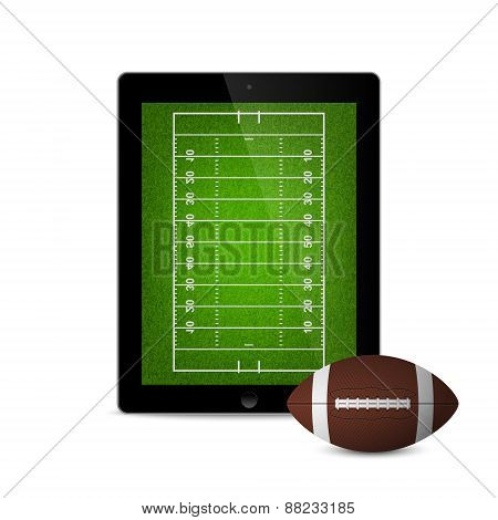 Black Tablet With American Football Ball And Field On The Screen.