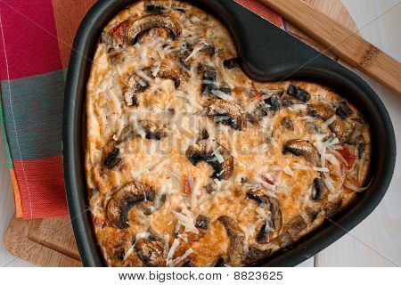 Frittata With Aubergines And Mushrooms