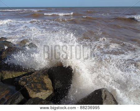 Waves Upon Rocks Seascape