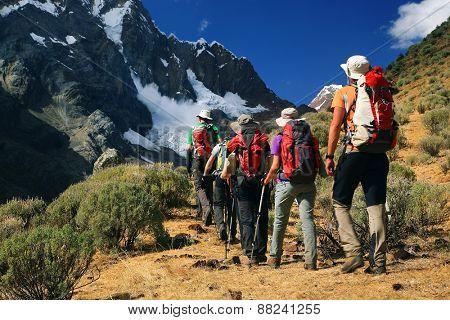 Team trekking in Cordiliera Huayhuash, Peru, South America