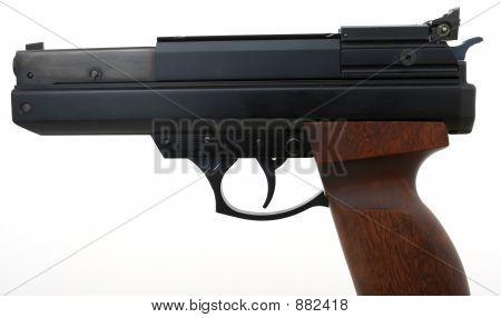 Hand Gun Over White