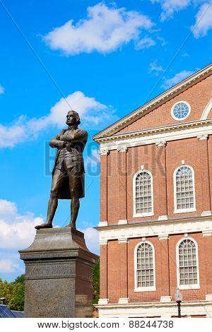Boston Samuel Adams monument near Faneuil Hall in Massachusetts USA