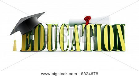 Text Education And Graduation Cap
