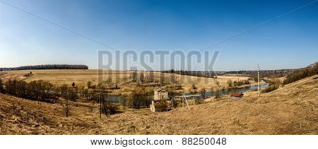 Early spring panorama. River Nara, Moscow region, Russia. Field, forest. poster