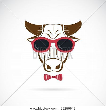 Vector Images Of Bull Wearing Sunglasses On White Background.