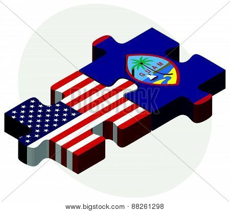 Usa And Guam Flags In Puzzle