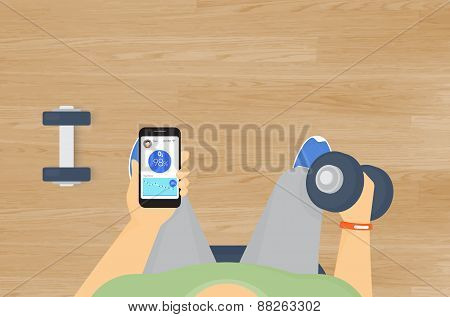 Man doing exercises with dumbbells and getting information of his the blood oxygen level using mobile app for sport wristlet poster