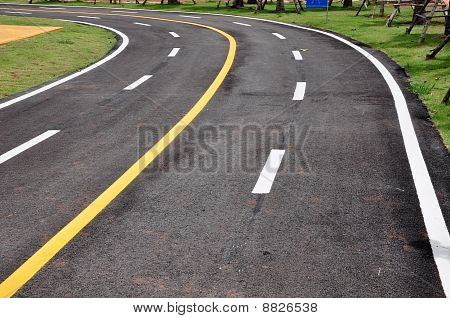 Yellow Line On Curve Road