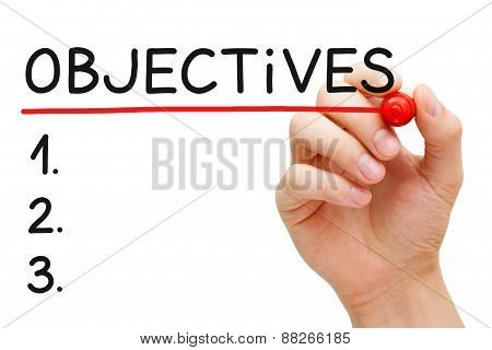 Hand writing Objectives to do list with marker isolated on white. poster