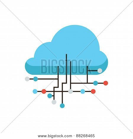 Cloud Connection Flat Line Icon Concept