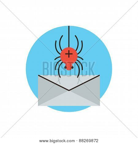 Thin line icon with flat design element of spyware attack email protection against malware internet virus accessing computer mail web security breach. Modern style logo vector illustration concept. poster