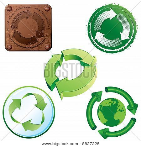 Set of stylized recycling symbols - for your design. To see similar - please visit at my gallery. poster