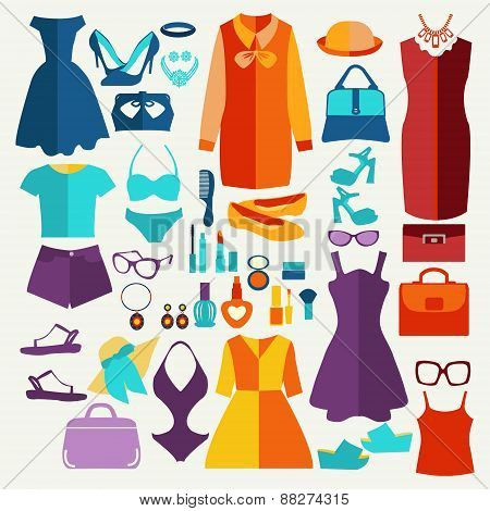 Women Summer Clothing In  Flat Style.