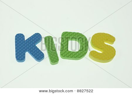 Word Kids Spelled Out In Kids Blocks Isolated On White