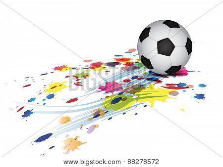 Soccer Ball And Ink Splatter Background
