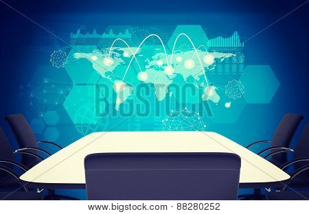Business office with empty table and chairs