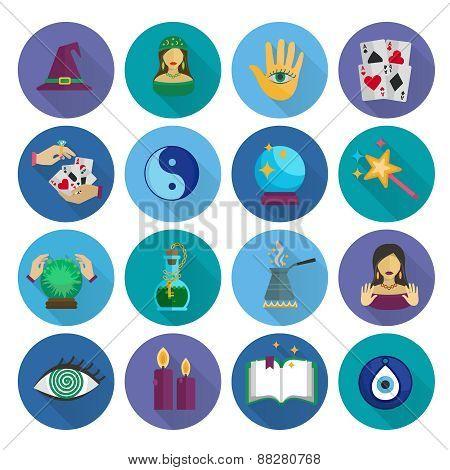 Fortune Teller Icons Flat