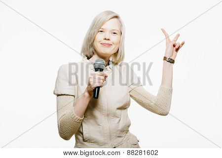 strange slim blonde girl sing karaoke and show victory sign poster