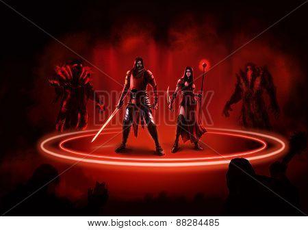 Fantasy Warriors Man And Woman