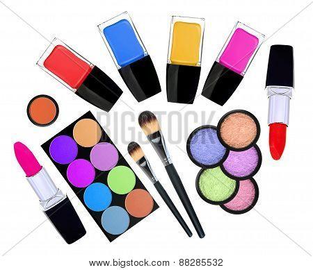Set Of 5 Eyeshadows, Brushes, Lipsticks And Nailpolishes Isolated On White
