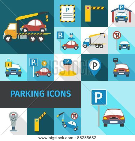 Parking Icons Flat
