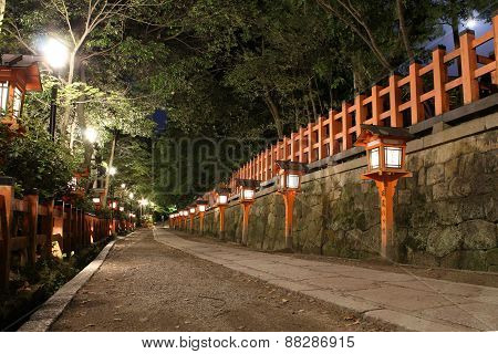 Pathway In A Japanese Shrine In Kyoto