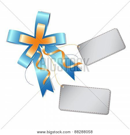 Blue Ribbon Bow And Label