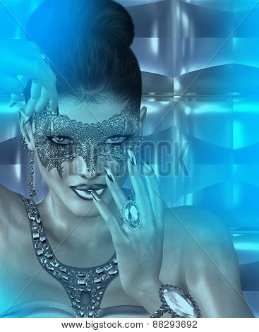 Masquerade mask woman and abstract blue twilight background.