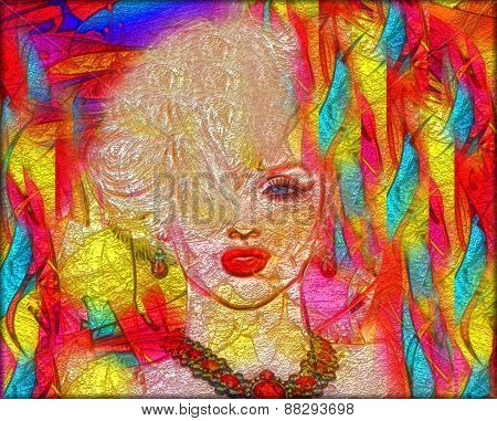 Abstract art, blonde woman, colorful background.