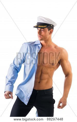 Muscular male sailor with marie hat and shirt covering half torso