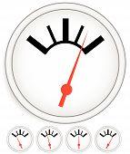 Generic dial gauge guage. Measurement level indicators. poster